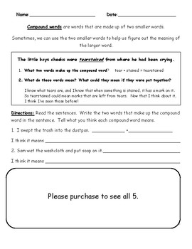 Identifying the Meaning of Compound Words Worksheet | TpT