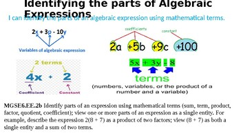 Identifying the Parts of Algebraic Expressions 6.EE.2b