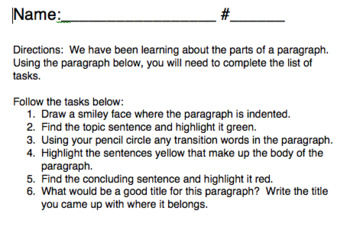 Identifying the Parts of a Paragraph