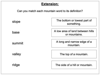 Identifying the features of a mountain range - Mountains Environments