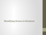 Identifying themes in novels