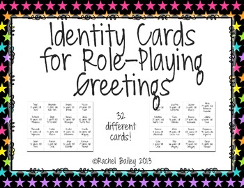 Identity Cards for Role-Playing Greetings (Los Saludos) in Spanish