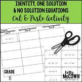 Identity, One Solution, or No Solution Equations Cut & Paste Activity
