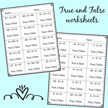 Identity Property and Addition and Subtraction Worksheets