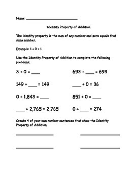 Identity Property of Addition worksheet - VA SOL 3.20b