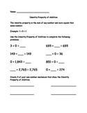 Identity Property of Addition worksheet - VA SOL 3.20b