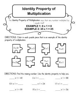 Identity Property of Multiplication Worksheet