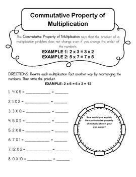 Commutative Property of Multiplication Worksheet