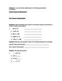 Identity and Zero Properties of Multiplication Worksheet