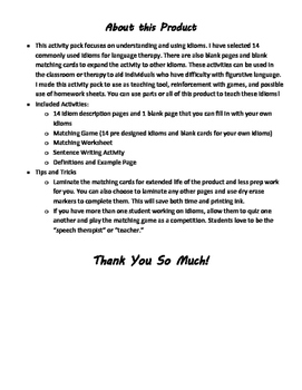 Idiom Activity Pack (Speech/Language Therapy, Figurative Language)