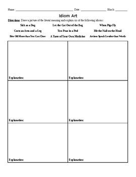 Idiom Art Homework Activity
