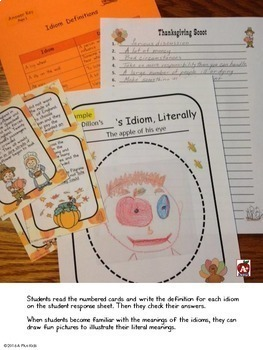 Idiom Bingo Game--Using Idioms to Tell the Thanksgiving Story