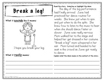 Idiom Book - 24 Idioms with Critical Thinking Reading Passages
