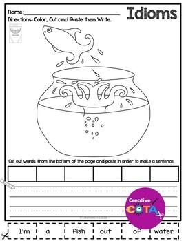 Idioms Worksheets Color Cut and Paste Sentences Set 1