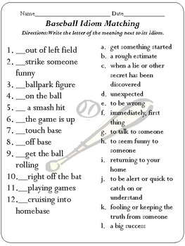 idiom concentration baseball edition by just peachy teaching tpt. Black Bedroom Furniture Sets. Home Design Ideas