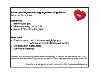 Idiom & Figurative Language Match Game Set 2