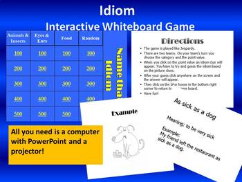 Idiom Game - interactive whiteboard / PowerPoint