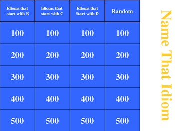 Idiom Game version 2 - for interactive white boards