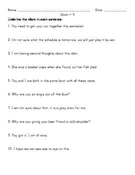 Idiom Homework