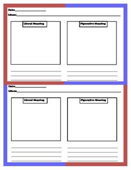 Idiom Journal Graphic Organizer