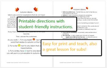 Idiom Lesson Plan & Worksheet - Fall, Halloween & Thanksgiving Fun