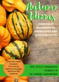Idiom Lesson Plan & Worksheet - Fall, Halloween & Thanksgi