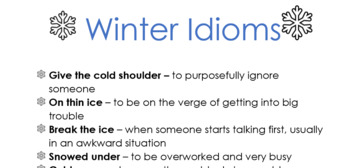Idiom Lesson Plan & Worksheet - Winter Idioms