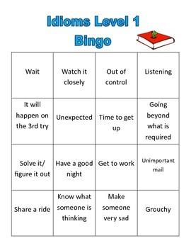 Idiom Level 1 list, figurative language, multiple meanings