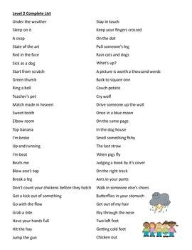 Idiom Level 2 list, Figurative Language, Multiple Meanings