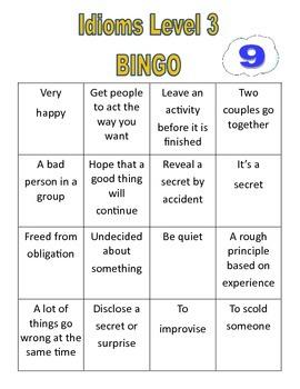 Idiom Level 3 list, Figurative Language, Multiple meanings