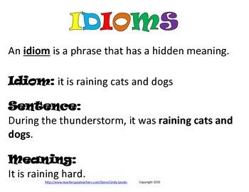 Idiom Literacy Station, Idiom Posters, Idiom Worksheet, Idiom Game