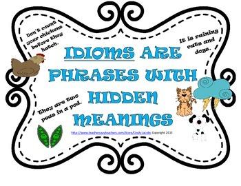 Idiom Literacy Station, Idiom Posters, Idiom Worksheet, Id