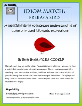 Idiom Match: Free as a Bird FREEBIE