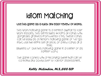 Idiom Matching - Speech and Language Therapy