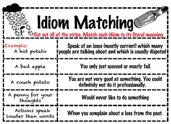 Idiom Matching with Answer Key