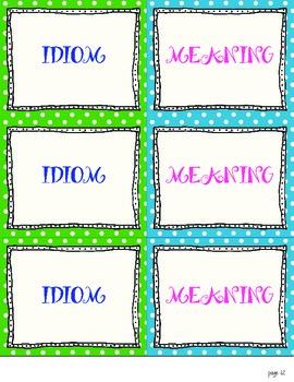 Idiom Memory Game - EDITABLE CARDS!
