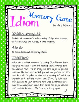 Idiom Memory Game - EDITABLE CARDS!