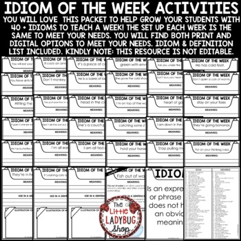 Idiom of The Week - 3rd Grade, 4th Grade & 5th & Figurative Language Activities