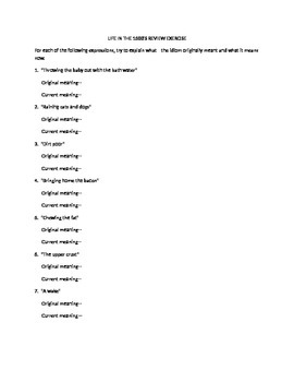 Idiom Origins Reading with Review Exercise