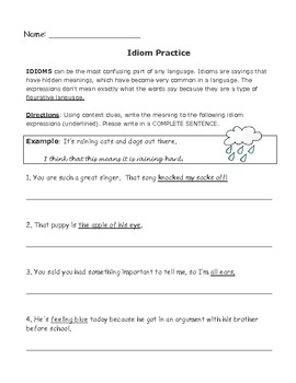 Idiom Practice Worksheet