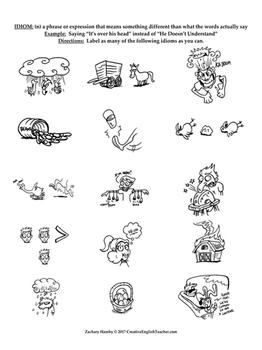 Idiom Presentation with Cartoon Illustrated Idiom Guessing Game