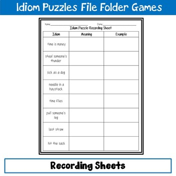 Idiom Puzzles File Folder Game 2
