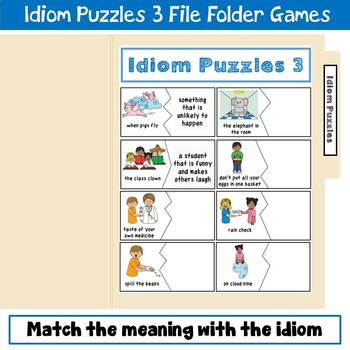 Idiom Puzzles File Folder Game 3