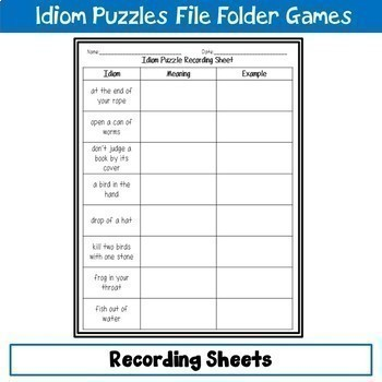 Idiom Puzzles File Folder Game Bundle