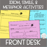 Idiom, Simile, & Metaphor Activities - Front Desk by Kelly Yang - CCSS