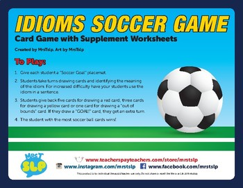 Idiom Soccer Game With Supplement Worksheets