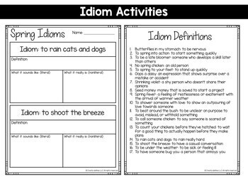 Idioms Spring Themed