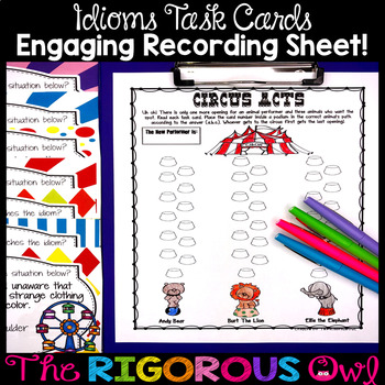 Idiom Task Card Activity Bundle