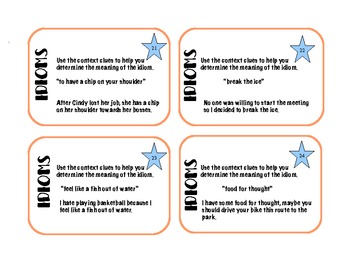 Idiom Task Cards -64 cards (32 idioms plus 32 idioms using context clues)