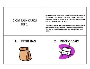 Idiom Task Cards Set 1
